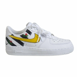 Buty Nike WMNS Air Force 1 Low All White Custom OFF WH Stripes  Flowers - 315115-112