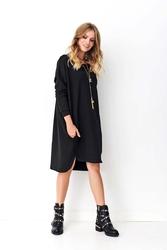 Czarna asymetryczna luźna sukienka dresowa