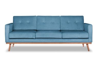 Sofa fern z funkcją spania welurowa 3-osobowa  deluxe - welur łatwozmywalny sky