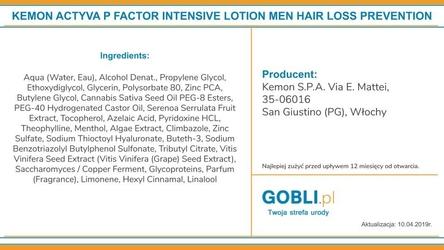 Kemon actyva p factor intensive ampułki dla mężczyzn na wypadanie włosów 12x6ml