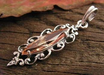 Charo - srebrny wisiorek z topazem złocistym