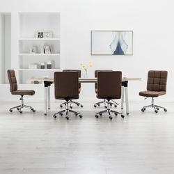 Vidaxl krzesła stołowe, 6 szt., brązowe, tkanina