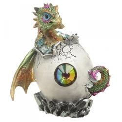 Smocze jajo z kryształem i zielony smok - figurka fantasy