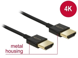 Delock kabel hdmi-hdmi high speed ethernet 4k 3d slim 3m czarny