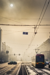 Warszawa we mgle - plakat premium wymiar do wyboru: 60x80 cm