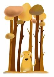 Piesek w lesie - plakat wymiar do wyboru: 21x29,7 cm