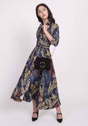 Rozkloszowana granatowa sukienka z kopertowym dekoltem w liście