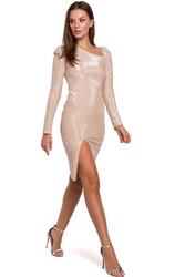 Beżowa połyskliwa sukienka bodycon z asymetrycznym dekoltem