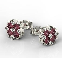 Kolczyki z białego złota z rubinami i diamentami jpk-56b-szt - rubin