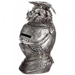 Średniowieczny hełm z gargulcem - skarbonka