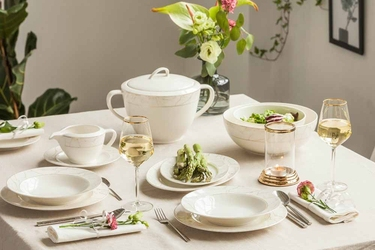 Serwis  zestaw obiadowy na 6 osób porcelana mariapaula nova ecru marble 24 elementy