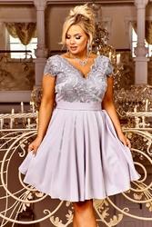 Rozkloszowana szara krótka sukienka wieczorowa - diana 2