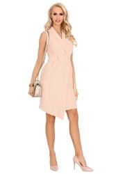 Beżowa asymetryczna sukienka żakietowa bez rękawów