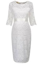 Koronkowa sukienka ciążowa z satynowym paseczkiem, koronkowa plus size, ecru z białą podszewką 1026