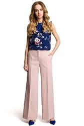 Pudrowe spodnie w kant szerokie nogawki
