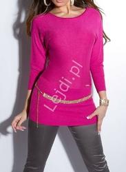 Sweter nietoperz wełniany z jedwabiem zdobiony łańcuszkami - fuksja 8161
