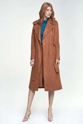 Karmelowy płaszcz długi klasyczny z paskiem