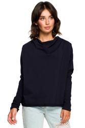 Luźna bluza damska z dekoltem z tyłu granatowa b094