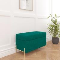 Zielona tapicerowana ławka dancan borgo z pojemnikiem, na złotych metalowych nogach