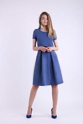 Wizytowa Rozkloszowana Jeansowa Sukienka z Nakładką