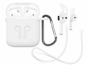 Etui do Apple AirPods silikonowe +nakładki +pasek strap biały - Biały