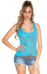 Koszulka bokserka błękitna zdobiona koronką na plecach