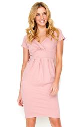 Różowa Sukienka Mini z Kopertowym Dekoltem