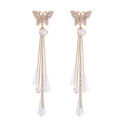 Kolczyki złote wiszące motyl cyrkonie perła