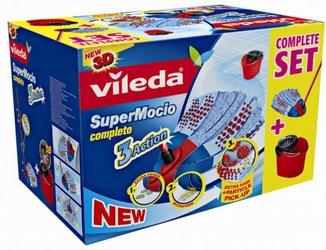 Vileda, Supermocio 3 Action Completo Box, mop paskowy z wiadrem, 1 sztuka