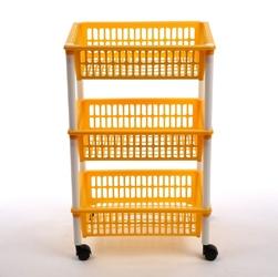 Regał 3 półkowy na kółkach  półki  szafka tontarelli żółty