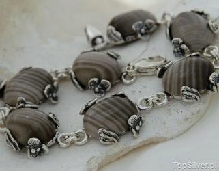 Chieti - srebrna bransoletka z krzemieniem pasiastym