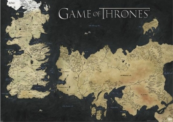 Game Of Thrones Map Of Westeros, Essos - plakat