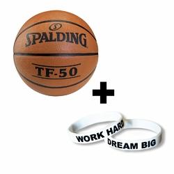 Piłka do koszykówki Spalding TF-50 + Opaska silikonowa Work Hard Dream Big