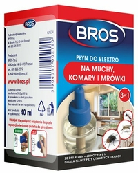 Bros Elektro, płyn zapasowy do urządzenia elektrycznego, 3w1, na muchy, komary i mrówki, 60 nocy