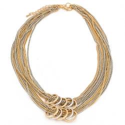 Naszyjnik łańcuszki obrączki srebrny złoty - gold