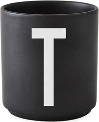 Kubek porcelanowy AJ czarny litera T