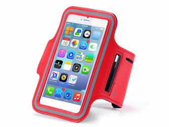 Etui na ramię sportowe do biegania na telefon do 4.7 cala czerwone - Czerwony
