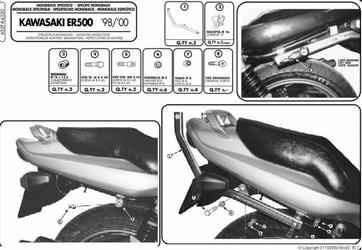 Stelaż centralny Kappa K4320 Kawasaki ER 5 500 98-00