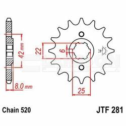 Zębatka przednia JT F281-15, 15Z, rozmiar 520 2200231 Honda XR 500