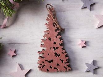 Dekoracja świąteczna  ozdoba choinkowa na boże narodzenie altom design drewniana zawieszka choinka różowa 27 x 14 cm