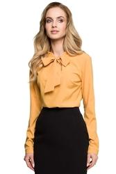 Żółta biznesowa bluzka z wiązaną kokardką