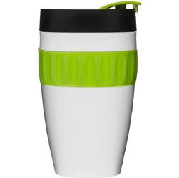 Kubek termiczny z silikonową opaską To Go Cafe Sagaform biało-zielono-czarny SF-5017153