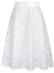 Biała koronkowa spódnica rozkloszowana 236