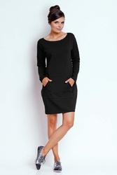 Czarna prosta dresowa sukienka z kieszenią kangurką