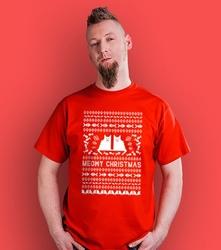 Meowy christmas t-shirt męski czerwony xl