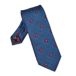 Niebieski krawat w kratę i malinowe kwiatki