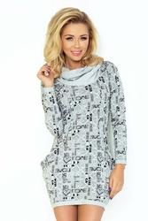 Szara sukienka mini z golfem i kieszeniami