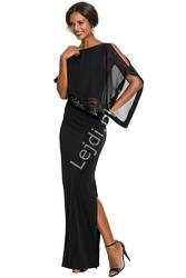 Długa elegancka sukienka z szyfonowym bolerkiem zdobiona cekinami - czarna 378