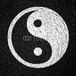 Board z aluminiowym obramowaniem yin yang symbol na ciemnym tle