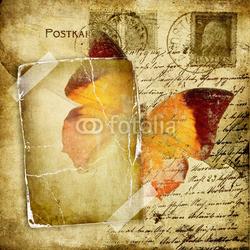 Obraz na płótnie canvas trzyczęściowy tryptyk Strony ze starymi albumami ze zdjęciami motyla